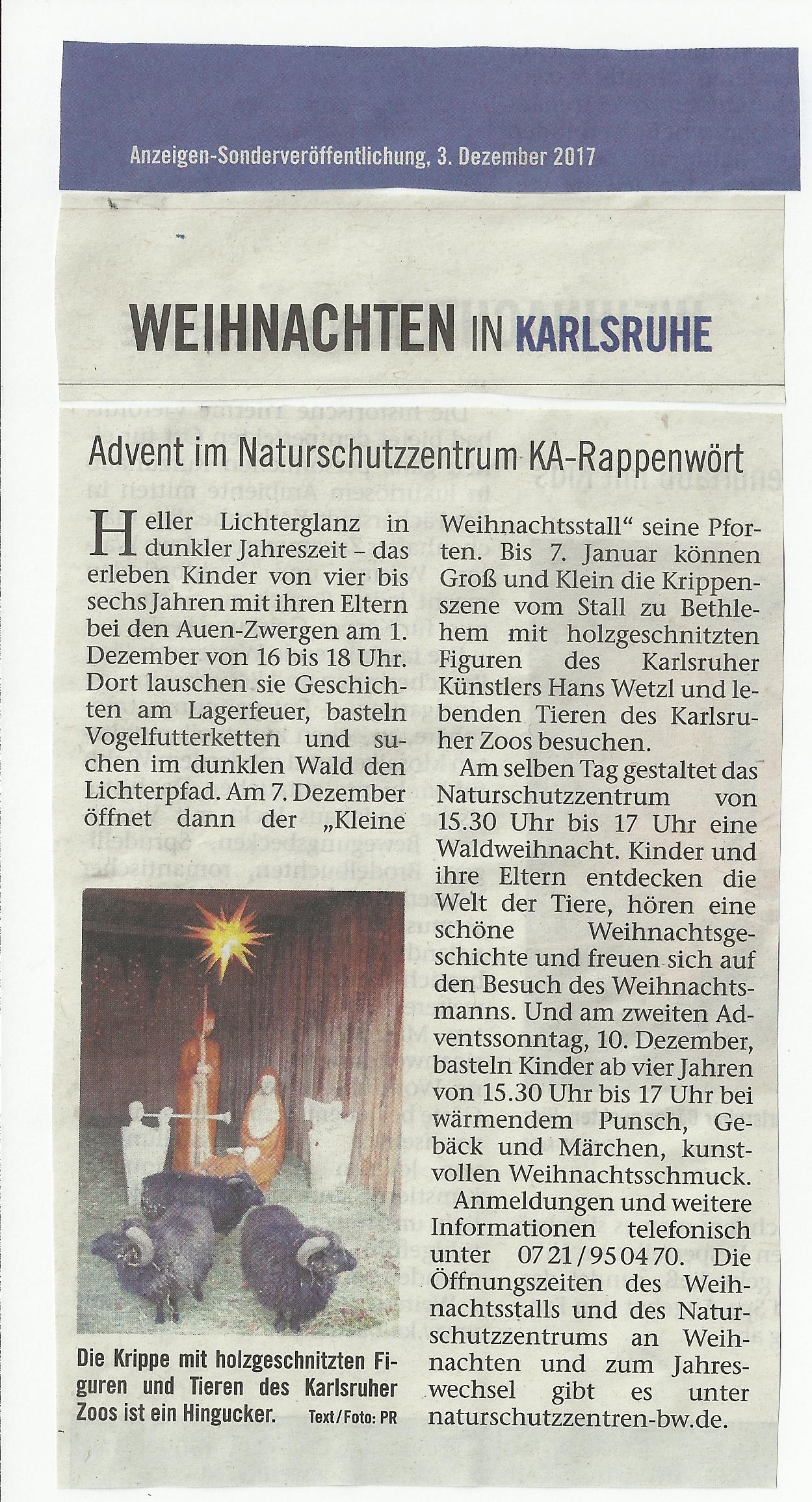 Beilage Weihnachten in Karlsruhe - Krippe NAZ 2017