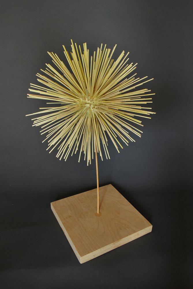 Nadel-Sonnentierchen, Linde-Buche bemalt,33x33x55cm
