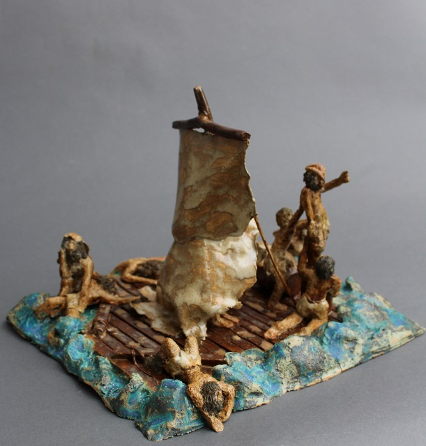 Das Floß der Medusa, Keramik, 30 x 30 x 27 cm