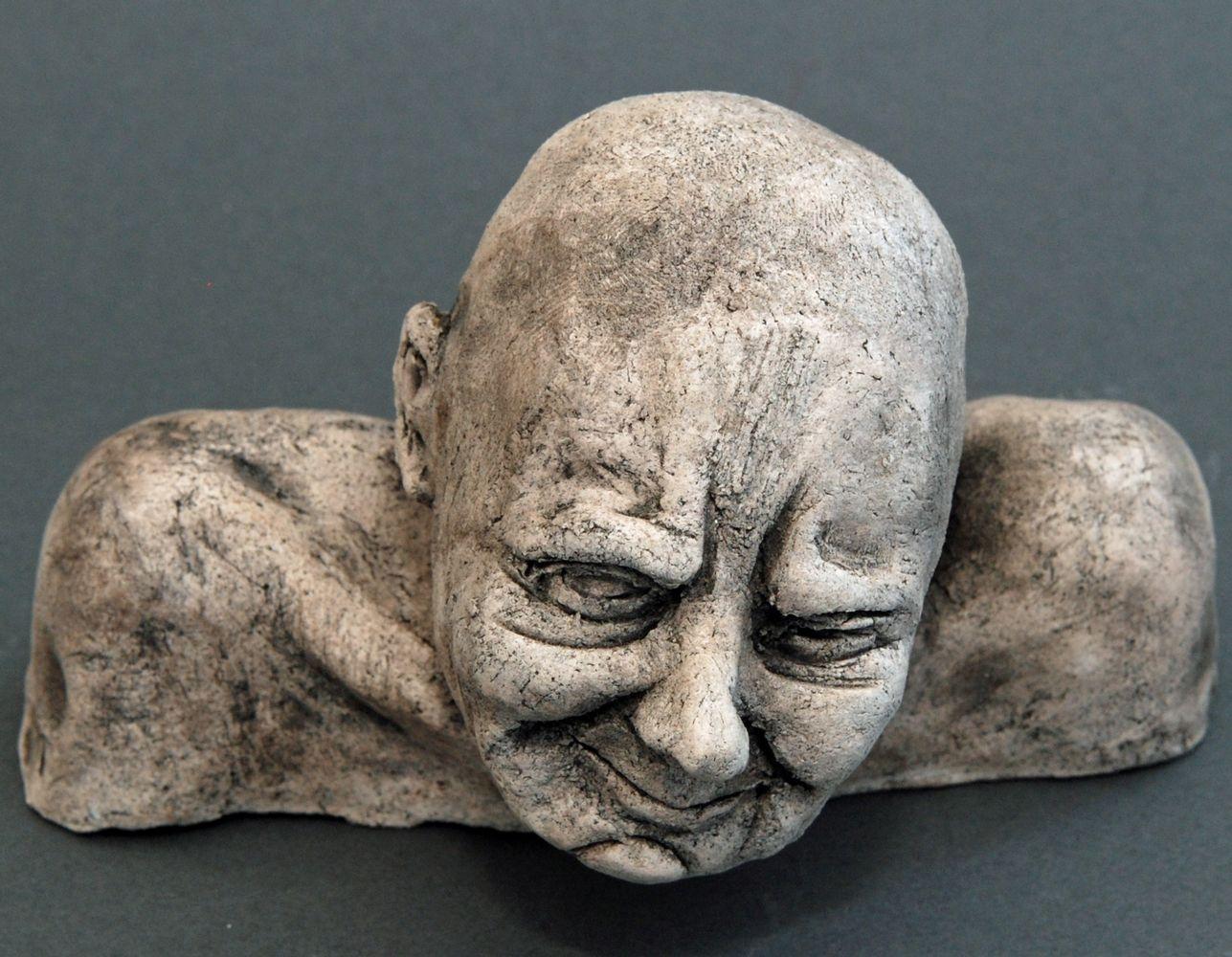 Seelenbilder die Qual, Keramik, Größe: 17 x 3,5 x 14 cm