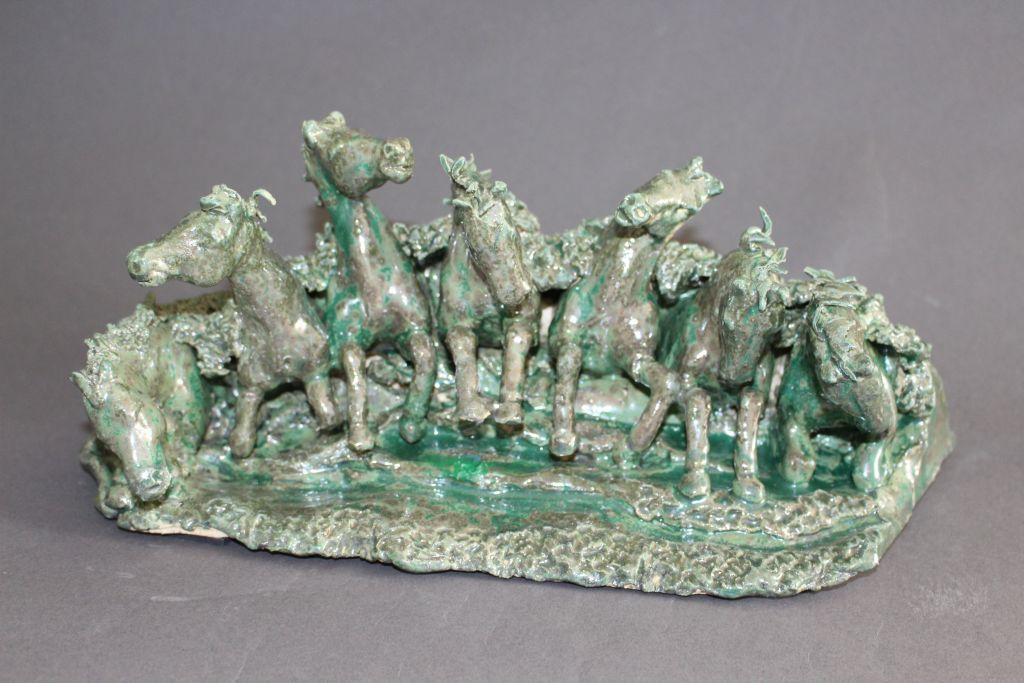 Neptuns Pferde, Keramik,32 x 12 x 15 cm