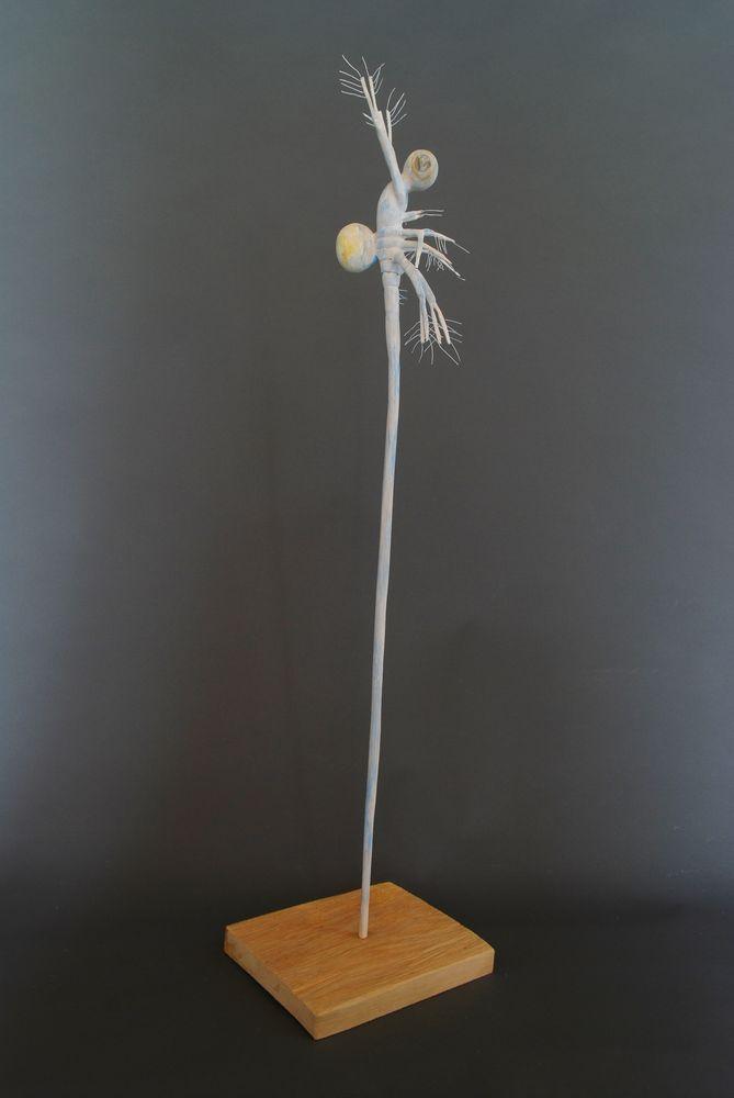 Langschwanzkrebschen, Linde bemalt, 15x10x110cm